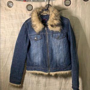 Brown faux fur faded glory jean jacket 8/10 medium